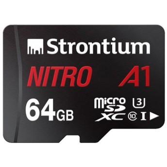 64GB microSDXCカード マイクロSD Strontium Nitro Class10 UHS-I U3 A1 R:100MB/s SDアダプタ付 海外リテール SRN64GTFU3A1A ◆メ