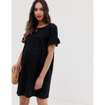 エイソス レディース ワンピース トップス ASOS DESIGN Maternity frill sleeve broderie smock dress Black