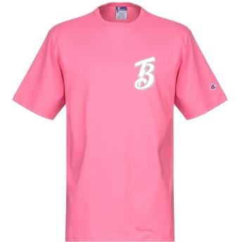 《期間限定セール開催中!》BEAMS by CHAMPION メンズ T シャツ フューシャ L コットン 100%