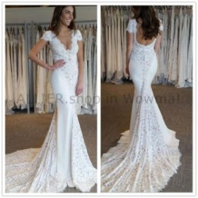 ウェディングドレス キャップスリーブささやかな花嫁衣装のレースのウェディングドレスVネックマーメイド6 8 10 12 14 16  C