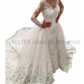 ウェディングドレス カスタムレースアップリケビーズのウェディングドレス長袖ブライダルガウン2 4 6 14 +  Custom L
