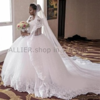 ウェディングドレス ホワイトアイボリーの夜会服のレースのスパンコールVネックのウェディングドレスブライダルガウンプラスサイズ W