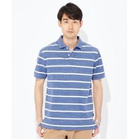 BACK NUMBER 汗染み防止鹿の子ポロシャツ メンズ ブルー*ホワイト