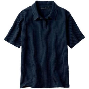 【メンズ】 サッカー調カットソーのスキッパーポロシャツ。吸汗・速乾で着心地も爽やか彡 - セシール ■カラー:ネイビー系 ■サイズ:L,LL,M,5L,3L