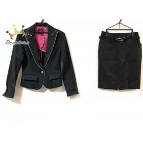ダックス DAKS スカートスーツ サイズ40 L レディース 黒×白    値下げ 20191017