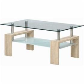 センターテーブル/ローテーブル 【ホワイトオーク】 幅100cm 強化ガラス製天板 スチールフレーム 収納棚付き 『フォーカス』