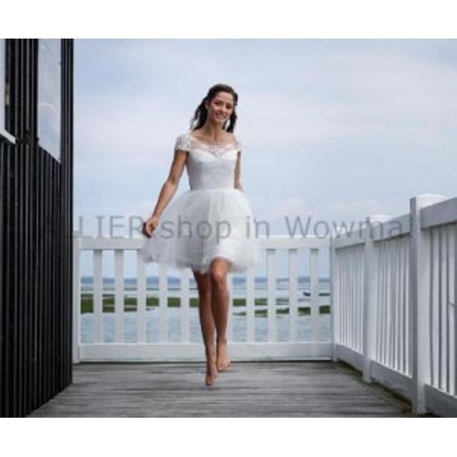 ウェディングドレス 短い袖の短いレースのチュール浜のウェディングドレスの開いた背部ブライダルガウン  Short Lace Tul