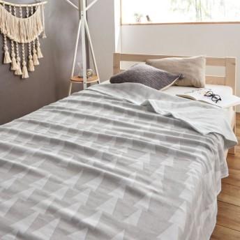 タオルケット ケット 片面ガーゼの今治産トライアングルデザインタオルケット カラー 「グレー」