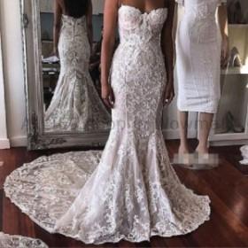 ウェディングドレス ストラップレスのレースの長いトランペットの花嫁衣装のアイボリーカスタムのウェディングドレス4 6 8 10 1