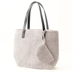 バッグ カバン 鞄 かごバッグ ポーチ付きカゴバッグ カラー 「グレー」