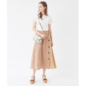 その他スカート - titivate 切替ボタンデザインフレアースカート/季節感を感じるリネンライク素材が涼し気/ボトムス/レディース/スカート/ミディアム丈/フレア/Aライン/ストライプ/柄/リボン/ボタン