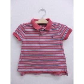 古着 キッズ 子供服 ポロ シャツ 90年代 ラルフローレン ロゴ 濃ピンク系 ボーダー