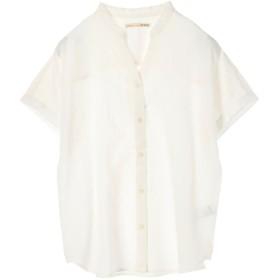 アースミュージックアンドエコロジー earth music & ecology ミントリネンブレンドスタンドカラー2wayシャツ (White)