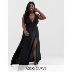 エイソス レディース ワンピース トップス ASOS DESIGN Curve beach maxi dress with frill strap & plunge neck in black Black