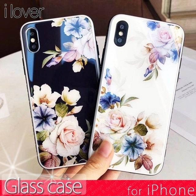 iPhone XR ケース iPhoneX iPhone8 iPhone7 ケース アイフォンX スマホケース 花柄 ガラス おしゃれ アイフォン8 アイフォンケース iPhoneケース