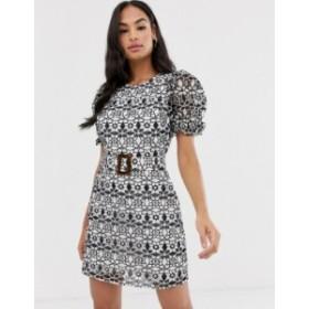 エイソス レディース ワンピース トップス ASOS DESIGN premium contrast lace mini dress with buckle belt Mono