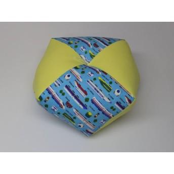 手作りあぐら座布団 おじゃみ(お手玉)の形をした可愛らしい座布団。 正座やあぐらで楽に座れます。上質な木綿わた使用し丁寧にお仕立てます。 g850 新幹線×無地イエロー