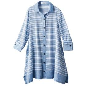 綿100%7分袖シャツチュニック(薄手素材)(オトナスマイル) (大きいサイズレディース)チュニック