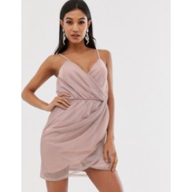 エイソス レディース ワンピース トップス ASOS DESIGN metallic mini wrap dress with stud detail Pink