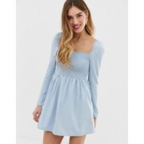 エイソス レディース ワンピース トップス ASOS DESIGN denim shirred mini smock dress in lightwash blue Blue