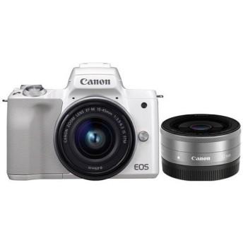 CANON EOS Kiss M ダブルレンズキット ホワイト ミラーレス一眼カメラ(2410万画素)