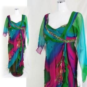 【中古】【返品不可】Diane Freis シルク100% プリント柄 ビジュー飾り付き ロングドレス Lサイズ キャバドレス スナック衣装 クラブ衣