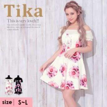 Tika ティカ リボン付きフラワー柄ミニドレス(ホワイト/ブラック) (Sサイズ~Lサイズ) キャバ ドレス キャバクラ キャバドレス キャバ嬢