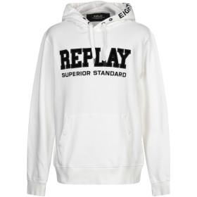 《期間限定 セール開催中》REPLAY メンズ スウェットシャツ ホワイト XXL コットン 100%