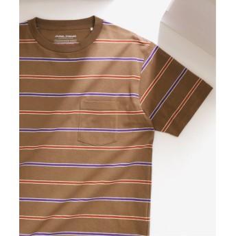 【50%OFF】 ジャーナルスタンダード US COTTON ヘビーウェイト ボーダー Tシャツ メンズ ブラウンB XL 【JOURNAL STANDARD】 【セール開催中】