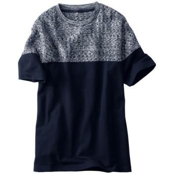 【メンズ】 ニットX鹿の子カットソー切替デザインのTシャツ - セシール ■カラー:ネイビー系 ■サイズ:M,L,5L,3L,LL