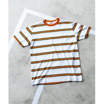 EDIFICE ROLAND GARROS × EDIFICE 別注 MULTI STRIPE Tシャツ ホワイト L
