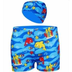 子供水着 男の子 水着 キャップ付き 2点セット 魚柄 カラフル 短パン 海パン 保育園 幼稚園 プール スイミング