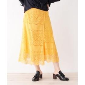 【SALE開催中】【index:スカート】◆【洗える】ペチコート付き巻きレーススカート