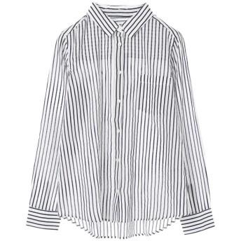 グリーンパークス Green Parks nougatine ボイル長袖レギュラーシャツ (Stripe)