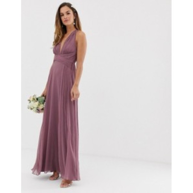 エイソス レディース ワンピース トップス ASOS DESIGN Bridesmaid ruched bodice maxi dress with wrap waist Dusty purple