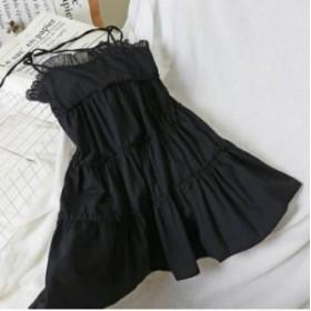 フリルワンピース ストラップドレス ワンピースドレス Aライン ティアードワンピース エレガント フェミニン キュート セクシー デート