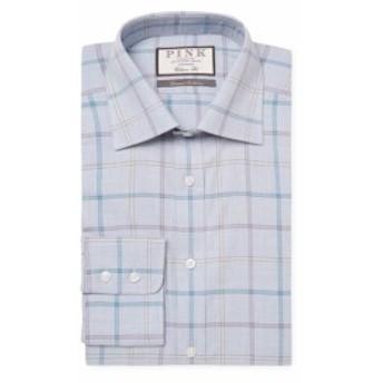 トーマスピンク Men Clothing Jarl Windowpane Cotton Dress Shirt