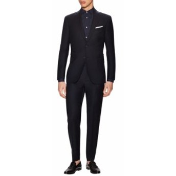 マイケルバスティアングレーラベル Men Clothing Wool Sharkskin Notch Lapel Suit