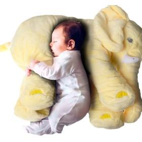 赤ちゃん象の枕柔らかいぬいぐるみの綿の人形赤ちゃん動物のクッション (黄 L)