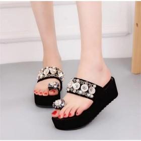 サンダル レディース ウェッジサンダル 春 夏 ストーン ラインストーン ビジュー スリッパ ぺたんこ ファッション 靴 婦人靴 韓国ファション