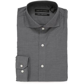 【83%OFF】スリムフィット バーズアイ 長袖シャツ ブラック 16.5x32