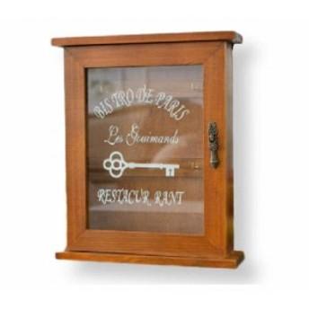 アンティーク 懐かしい 雰囲気 壁掛 キー ボックス ウッド(茶)木製 キーケース 小物 鍵 収納