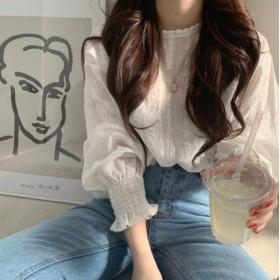 2019春新作★透けレース ブラウス韓国ファッション/レディース トップス/トップス オシャレ 大人 可愛い花柄Tシャツツ ブラウス 長袖