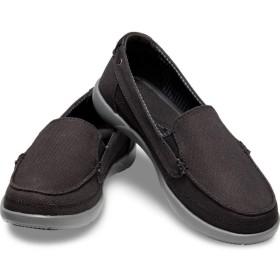 【クロックス公式】 ワルー キャンバス ローファー ウィメン Women's Walu Canvas Loafer ウィメンズ、レディース、女性用 ブラック/黒 21cm,22cm,23cm,24cm loafer ローファー 靴 10%OFF