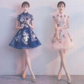 チャイナドレス風 ミニドレス フレアースカート ミニ mini ドレス ワンピース ミニ丈 ミニ丈ワンピース 膝上ワンピース チュールドレス