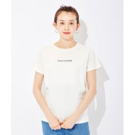 BACK NUMBER インディゴロゴ刺繍Tシャツ レディース オフシロ