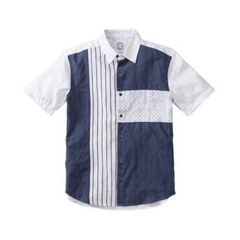 浮雲(うきぐも)しじら配色切替デザイン半袖シャツ カジュアルシャツ