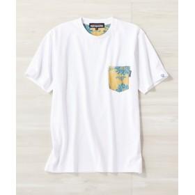 REYN SPOONER サーフポケットTシャツ メンズ ホワイト*イエロー