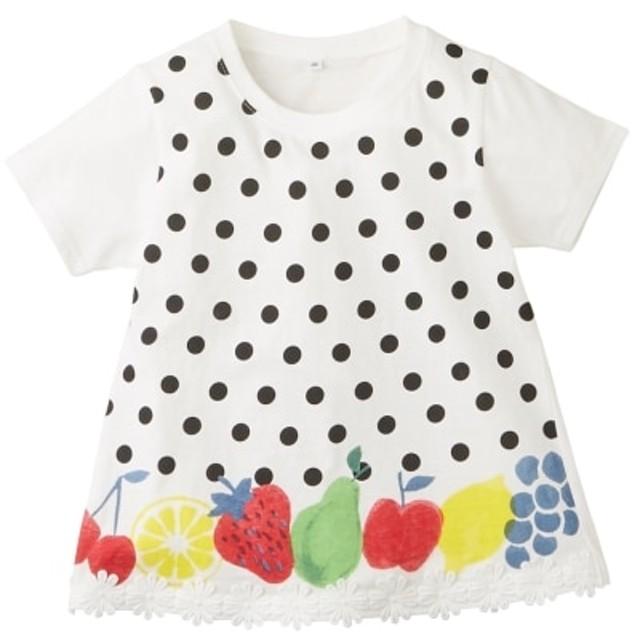 綿100%裾レース付フルーツTシャツ(女の子 子供服) Tシャツ・カットソー