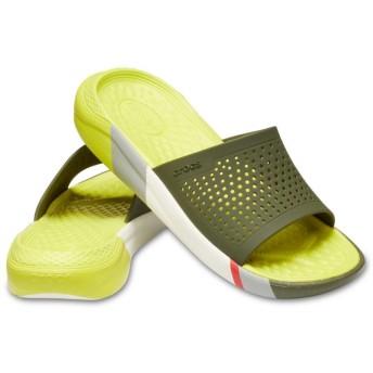 【クロックス公式】 ライトライド カラーブロック スライド LiteRide Colorblock Slide ユニセックス、メンズ、レディース、男女兼用 グリーン/緑 23cm,24cm,25cm slide スライドサンダル スポーツサンダル シャワーサンダル サンダル